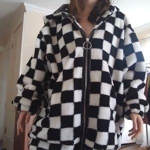 Oversized checkered current mood jacket